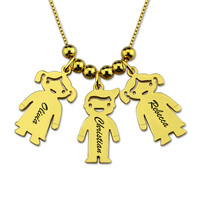 Wholesale Personalized Customized Kids Charms Necklace Gold Color Unique Jewelry for New Mom ( 5 Kids Price)