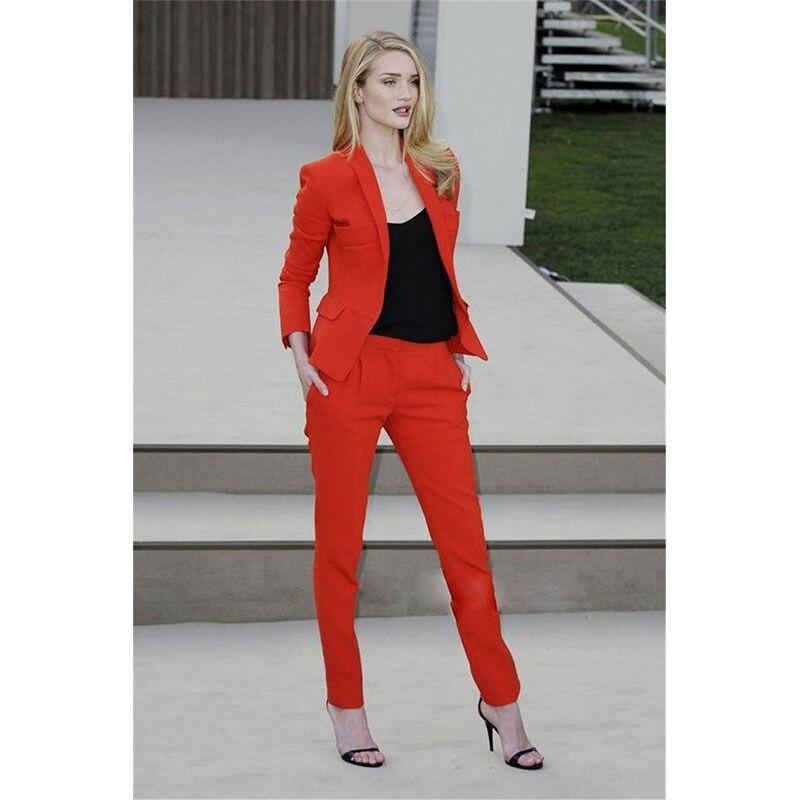 Pantalons Pantalon customized Red Costumes D'affaires Orange Femmes Pièce Dames 2 Rouge WEI2D9H