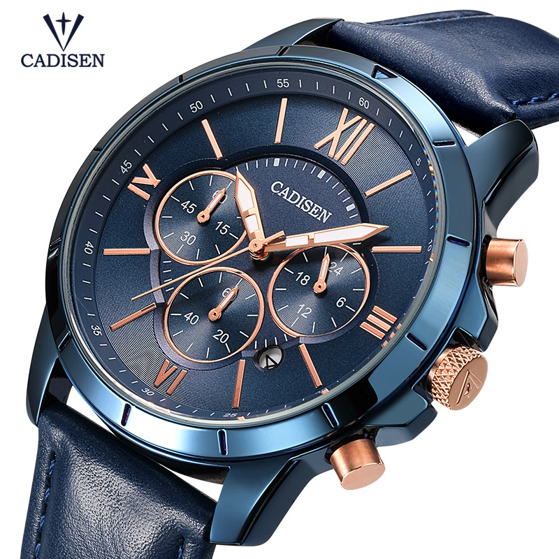 Cadisen Mens 24-hour Display Quartz Watches Fashion Blue Leather Strap Chronograph Analogue Wristwatch for Man CL9060 blueCadisen Mens 24-hour Display Quartz Watches Fashion Blue Leather Strap Chronograph Analogue Wristwatch for Man CL9060 blue