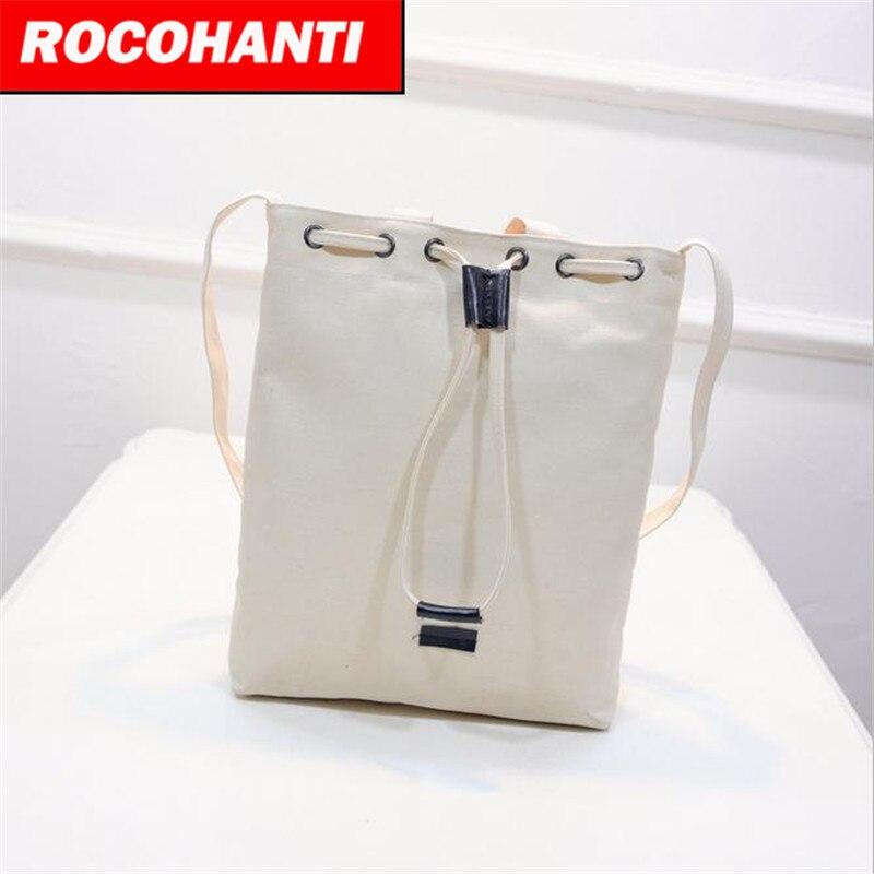 Style Canvas Handbag Drawnstring Bucket Bag Bolsa One Shoulder Cross-Body Bag F2101