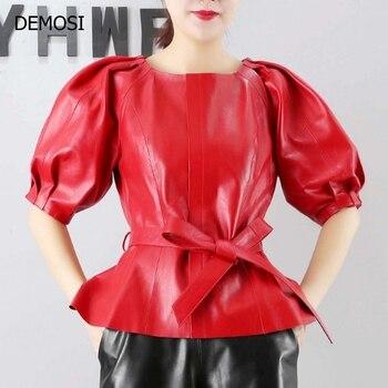 2019 новая мода высокое качество Женская молния короткие из натуральной кожи овчины уличная женские пальто черный красные поясы с круглым вы...
