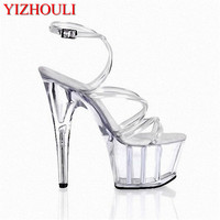 Concise Crystal Shoes, 6 Inch Stiletto High Heels With 2 Inch Clear Platforms Strappy Sexy Shoes 15cm High Heels Crystal Sandals