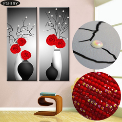 Spécial 5d bricolage diamant broderie Rose vase point de croix pâte ronde diamant peinture diamant mosaïque maison décorative pbrillant F416