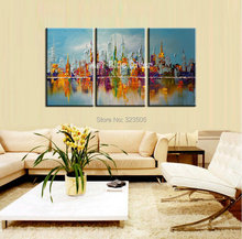3 piece muti panel abstract handmade Building city canvas art Knife oil painting on canvas living room wall picture decoration