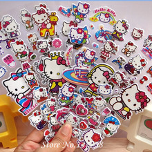 2016 nye 3Pcs / lot Bubble Stickers 3D Cartoon Hello Kitty Dyr Katt Classic Leker Scrapbook For Kids Barn Gave Sticker
