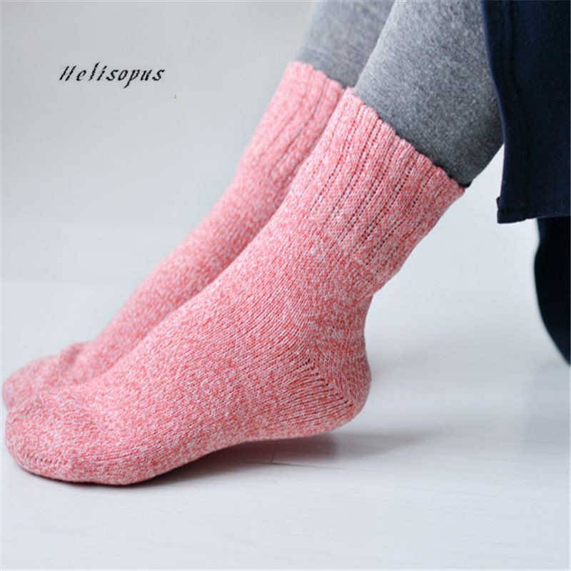 Helisopus Women New Pure Color Winter   Socks   Cuff Thick Warm   Socks   Wool Soft Casual   Socks   Women Clothing Accessories