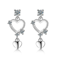 New Fashion Jewelry Lovely 925 Sterling Silver Heart Shaped Tassel Earrings For Women Girl Gift CZ Zircon Earrings oorbellen tjp lovely heart shaped open size women finger jewelry fashion 925 sterling silver ring for girl wedding party cz crystal stones
