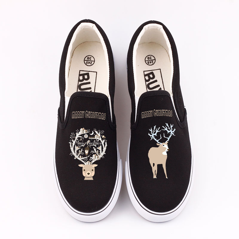 цена на Unique Christmas Reindeer Printed Casual Loafers Shoes Men Flat Slip On Merry Christmas Design Santa Claus Canvas Shoes Sapato