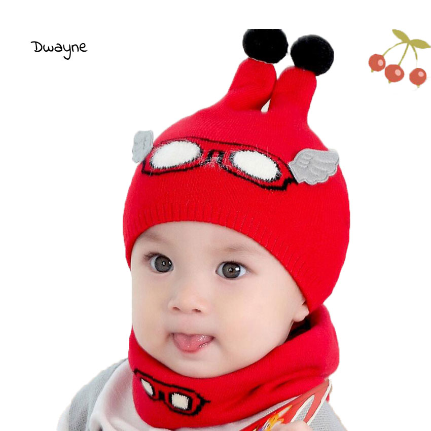 Baby Boy Caps Winter Girl Hats And Ring Scarves Set Cotton Kids Beanies Cap Scarf Collar Children Hat Fashion Cartoon Warm Suit