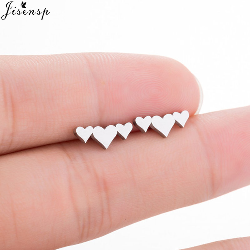 Jisensp Lovely Three Heart Earrings Stainless Steel Female Earings Fashion Jewelry Love Stud Earring pendientes mujer moda