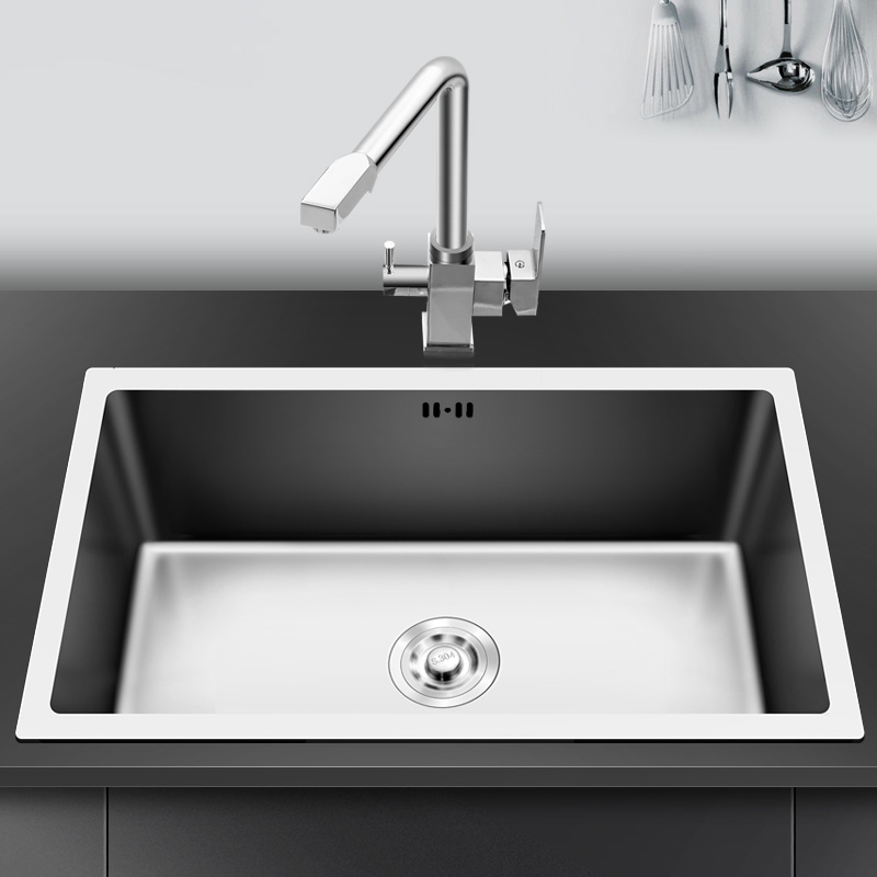 Kitchen Sink 304 Stainless Steel Single Bowl Drawing Drainer Welding Sinks Big Wash Dishes Undermount Handmade Brushed Seamless