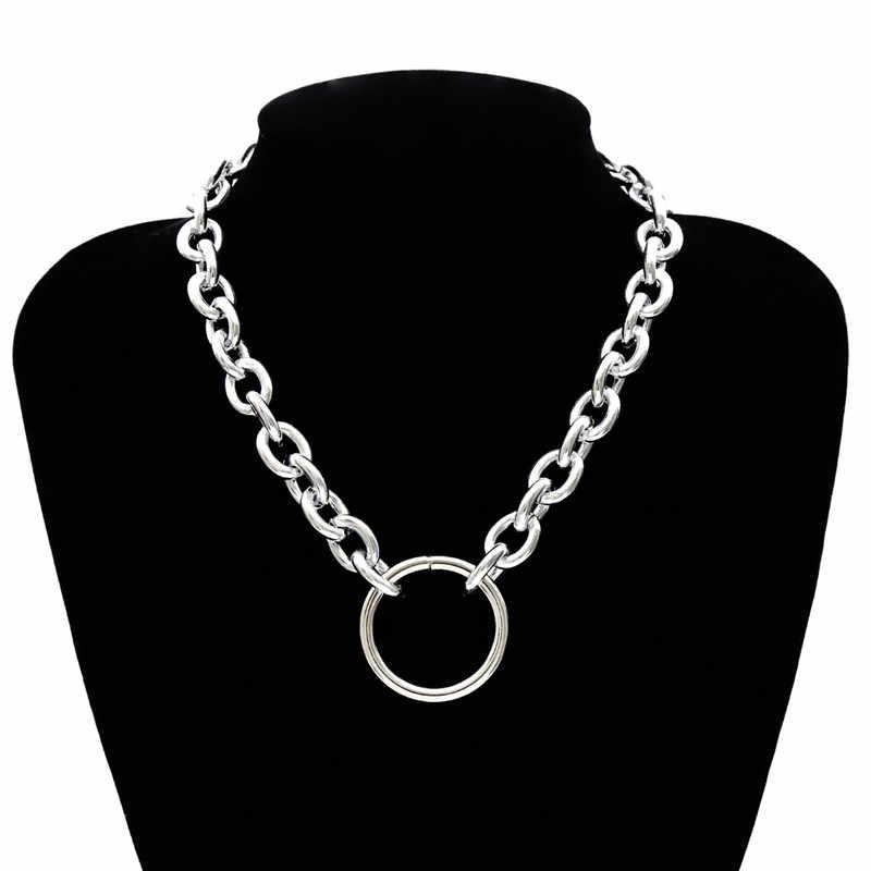 Darmowa wysyłka przesadzone metalowy sweter Chain naszyjniki dla kobiet koło wisiorek Choker naszyjnik przyjaciele prezent biżuteria Collares