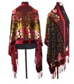 Burgundy Chinese Women 100% Silk Velvet Pashminas National Shawl Scarf Handmade Beaded Cape  Mujere Bufanda 172 x 68 cm