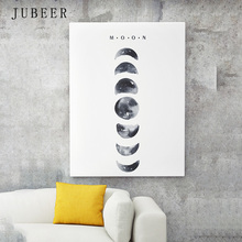 JUBEER Nordic Hand-painted Watercolor Decoration Moon Wall Art Posters and Prints Canvas Picture for Living Room Home Decor