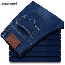 #1417 2017 Летние Тонкие Striaght джинсы мужчины Упругой Бизнес Тонкий мужчины джинсы Бренд-одежда Вакеро hombre