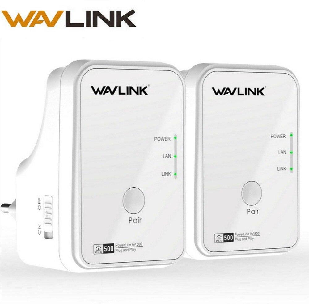 1 paire Wavlink AV500 adaptateur réseau Powerline RJ45 500Mbs Kit Powerline adaptateur Ethernet IPTV HomePlug AV Plug and Play EU/US