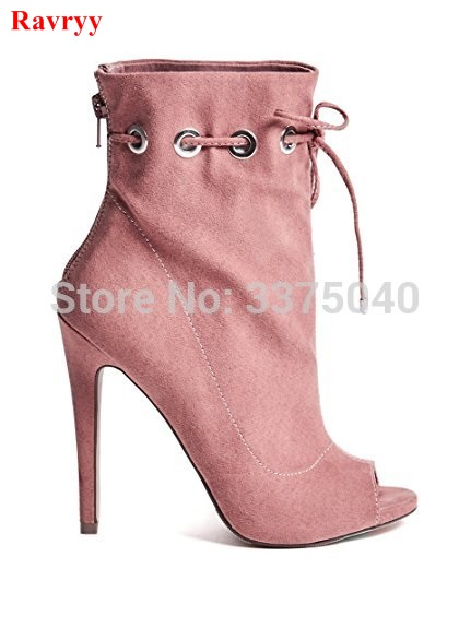 Ravryy Women Fashion Boots Peep Toe Boots Lace Up Suede Leather Bootie Zipper High Heel Stiletto Pumps Shoes цена