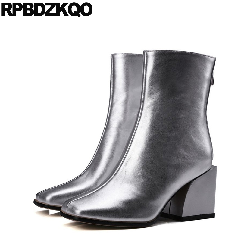 Short Ankle Shoes Chunky 2017 Metallic Celebrity Silver Brand Square Toe Designer Women Luxury Sexy Autumn Boots High Heel Fall frank buytendijk dealing with dilemmas where business analytics fall short