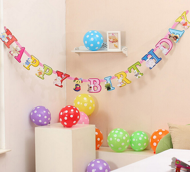 New Personalization Happy Birthday banner Party Kids Room Decoration