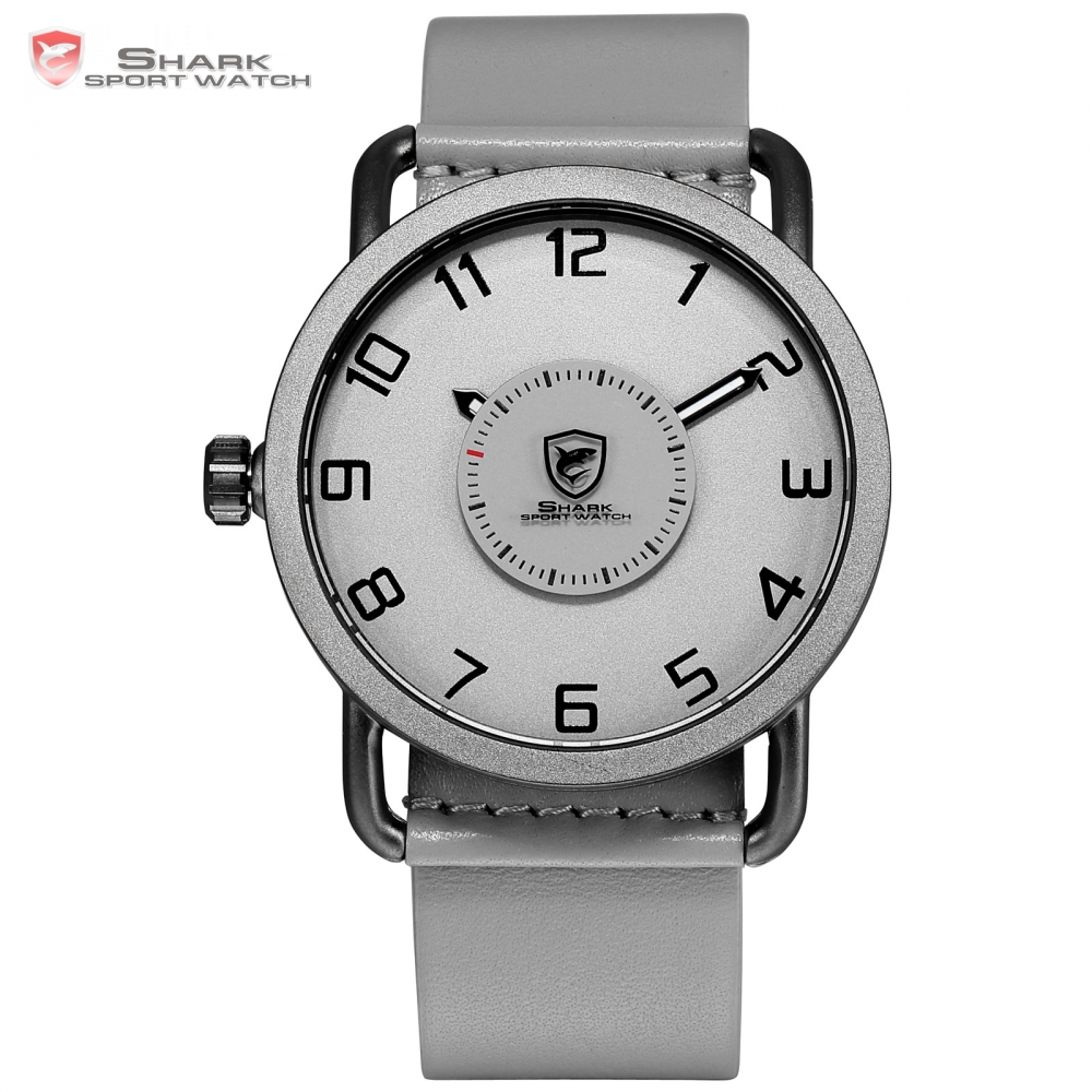 Caribbean Rough Shark Sport Watch Mens Grey Quartz Turntable Rotate Second Hand Rotate Simple Design Leather Wrist Watches/SH525