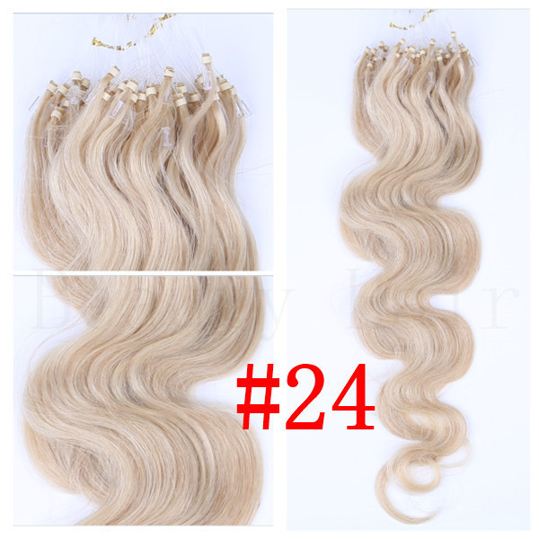 24 Blonde 100strands 20inch50cm Body Wave Micro Ringslinks Hair Extensions 02 Dark Brown Loops Micro Ring Hair 1gstrand On Aliexpress