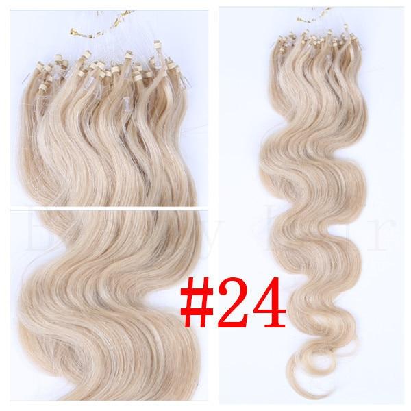 24 Blonde 100strands 20inch50cm Body Wave Micro Ringslinks Hair