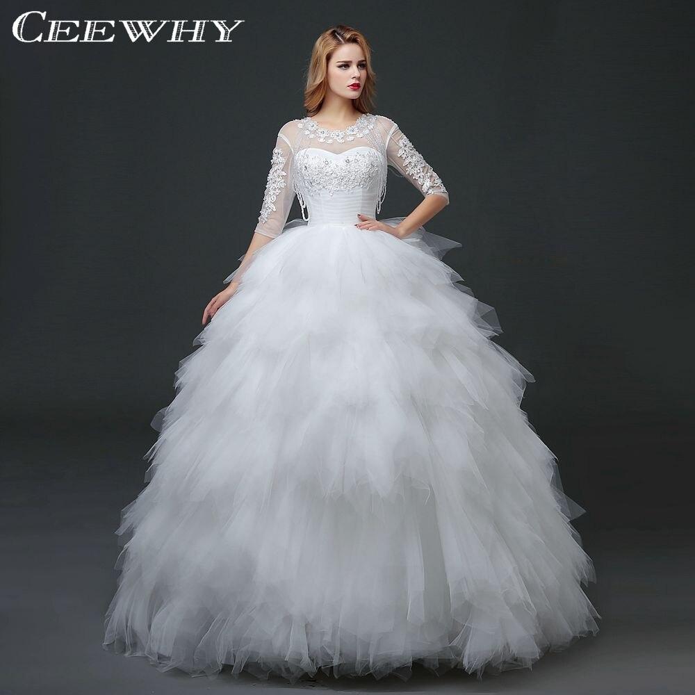 Christmas wedding dress korean - Ceewhy Half Sleeves Crystal Beading Ruffles Wedding Dresses Winter Bridal Gown Ball Gown Vestido De Novia