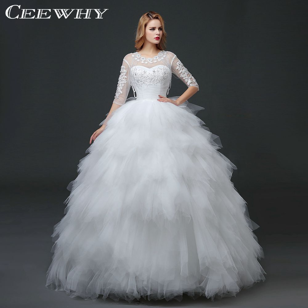 Compare prices on winter wedding dress sleeves online shopping ceewhy half sleeves crystal beading ruffles wedding dresses winter bridal gown ball gown vestido de novia ombrellifo Images