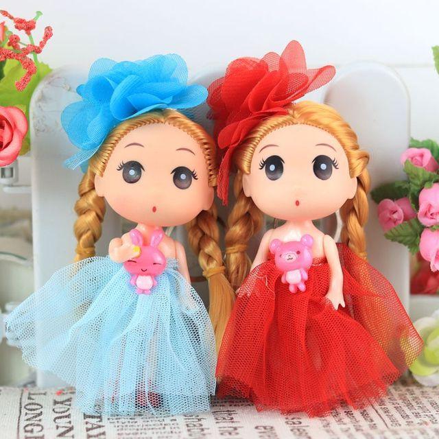 12 centímetros Crianças Brinquedos Do Bebê Interativo Dolls & Toys Stuffed Toy Dolls Para meninas bonito Chaveiro pingente boneca Casamento
