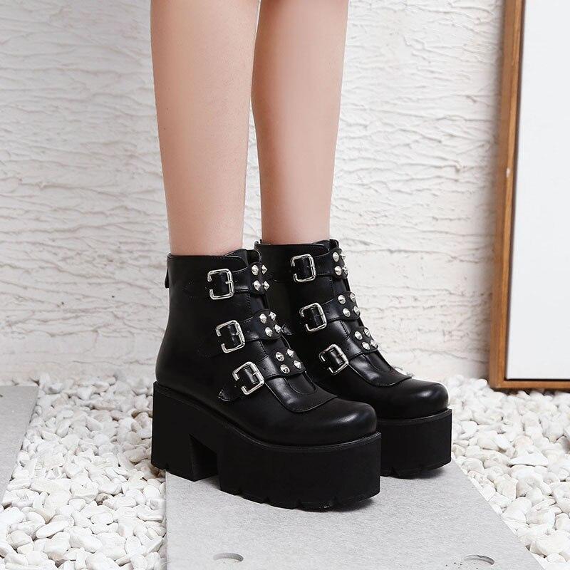 À Femme Fanyuan Bottines Talons Hauts Plus forme Vendre brown Carré Bottes 46 Plate Black Chaussures Neuf Flambant Tailles Boucles Femmes CxWredBo