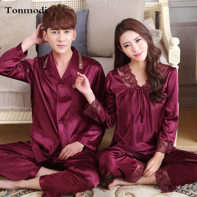 76160790e4 Online Shop Couples Pajama Set Love Sleepwear Long sleeve V-Neck Pajamas  Luxury Silk Men And Women Silk Satin Pyjamas XXXL