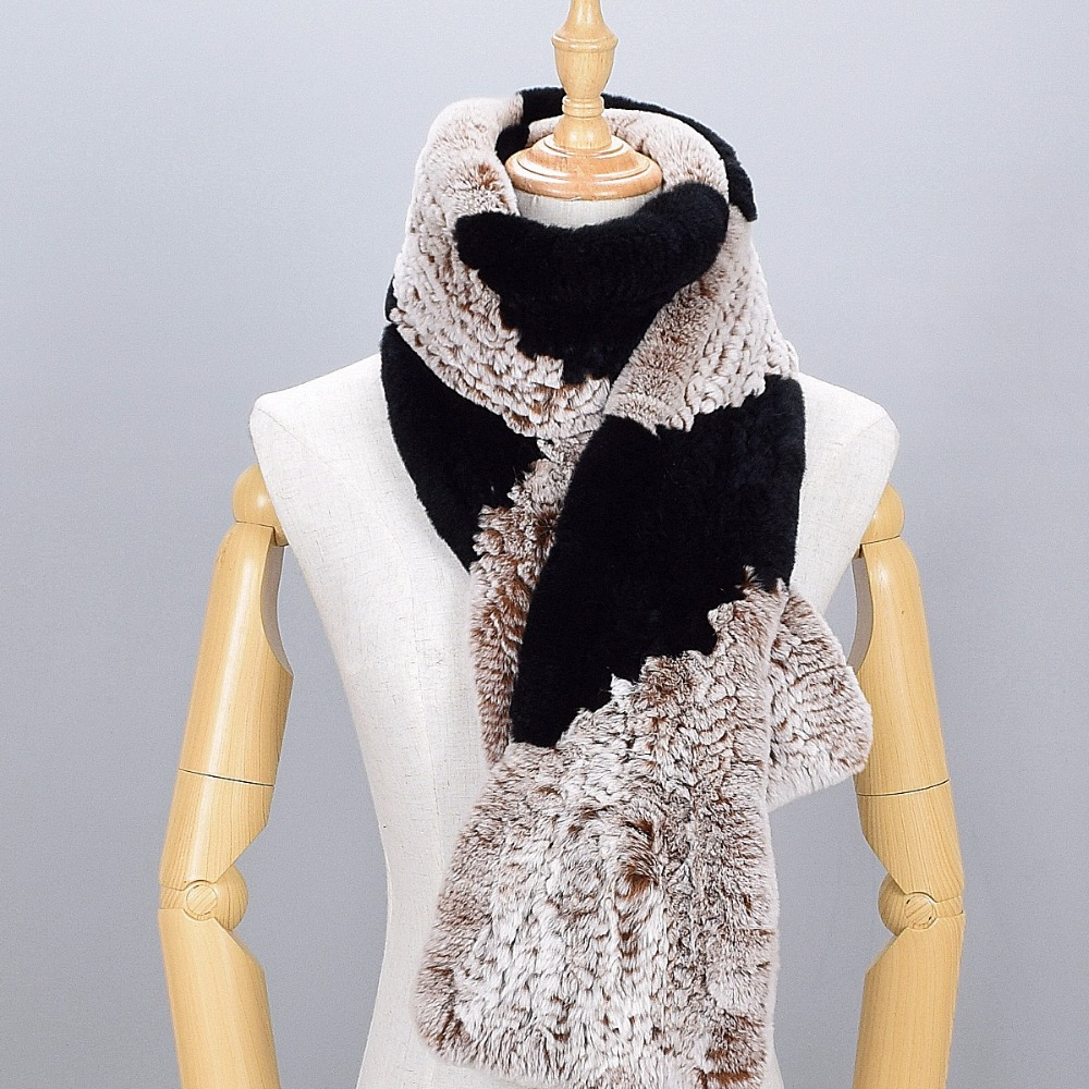 Long scarf Real Rex Rabbit Fur Scarves female 2017 winter lady scarf 100% natural Rabbit Fur scarves Russian plus size