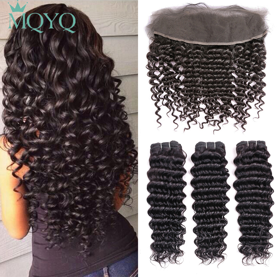 MQYQ Deep Wave Indian Hair 3 Bundle Human Hair Weave With Closure Curly Non remy Ear