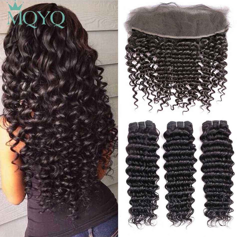 MQYQ Deep Wave Indian Hair 3 Bundle Human Hair Weave With Closure Curly Non remy Ear To Ear Lace Frontal Closure With Bundles