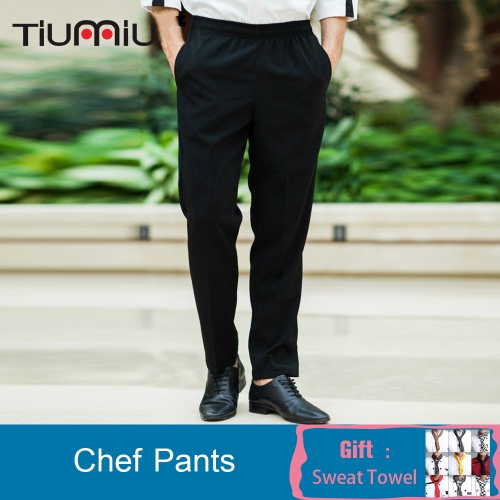 Chef Work Pants Black Trousers Food Service Kitchen Restaurant Hotel Waiter Cook Workwear Uniform Reposteria Horeca Patisserie