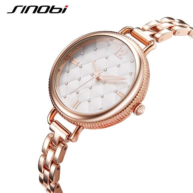 SINOBI Brand Women Watches 2019 Luxury Gold Quartz Watch Women Fashion Bracelet