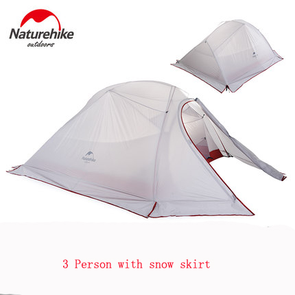 NH high quality 3 person double layers four-season rainproof waterproof camping outdoor tent with snow skirt