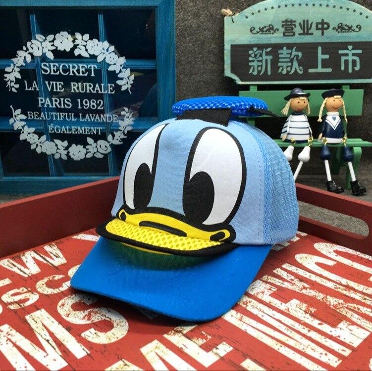 Di Trasporto Del Nuovo Fumetto Donald Duck Bella Estate Della Protezione Dei Bambini Delle Ragazze Dei Ragazzi Di Modo Regolabile Berretti Da Sole Dei Bambini Del Cappello Di Snapback Kasket Viseira Espo