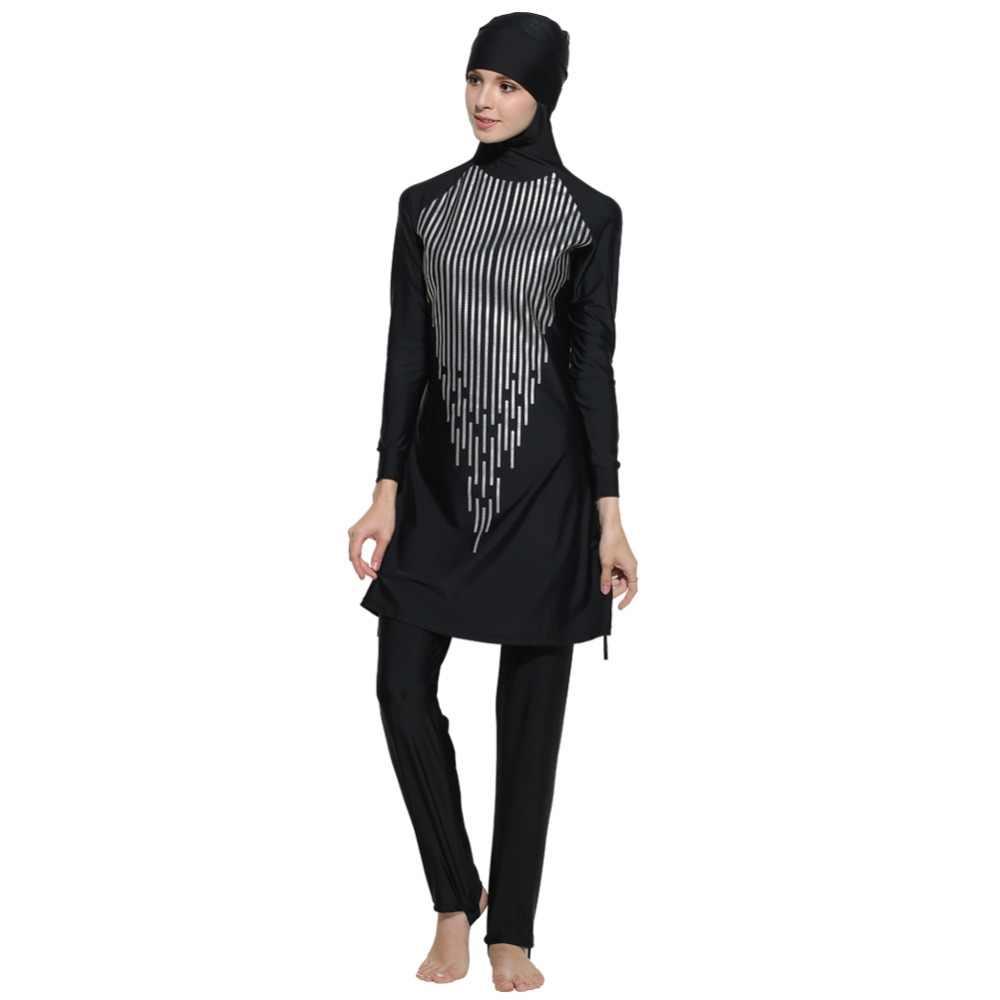 2019 Новый женский цветочный скромный Мусульманский купальник хиджаб mAh Буркини Спортивная одежда плюс размер бикини S-4XL