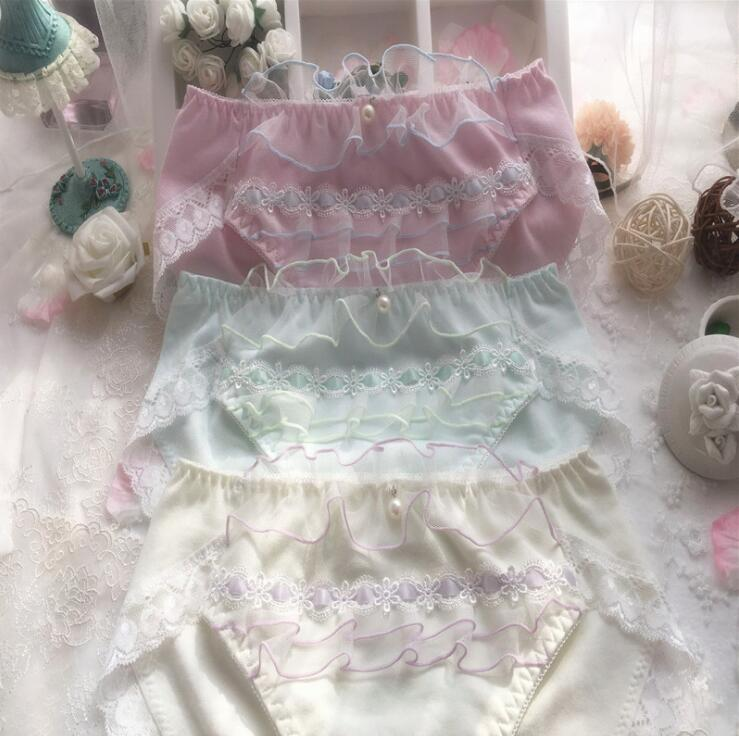 100% реальные фотографии размера плюс M L XL XXXL, милые хлопковые трусики принцессы Lolita Kawaii bouffancy с оборками, нижнее белье WP424