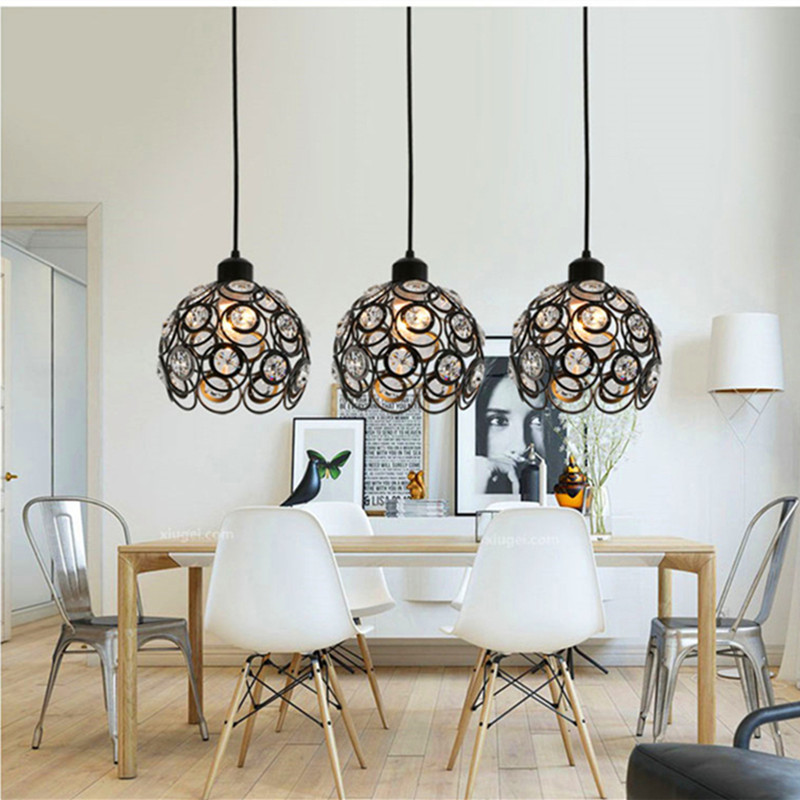 Retro minimalist E27 Pendant Lamp creative personality crystal Birdcage Pendant Light for restaurant Bedroom Coffee Shop
