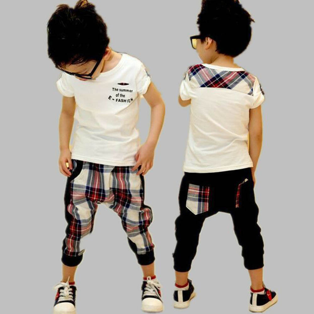 Children Clothing Set 2017 Summer Letter Print Cotton T-Shirt + Lattice Casual Trousers Toddler Boys Clothes Kids Sportswear