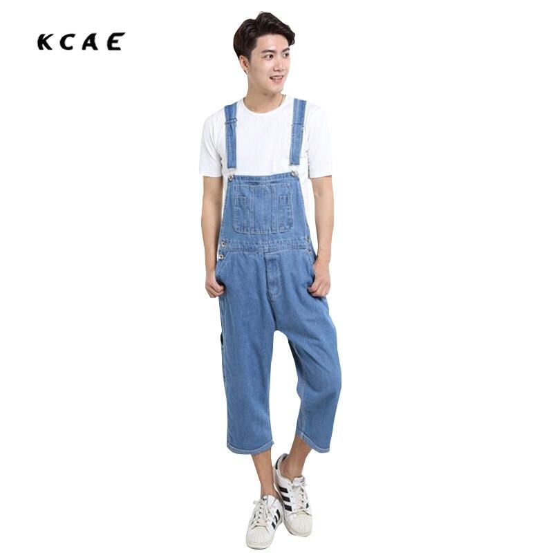 ФОТО 2016 New Fashion Men light Blue color Jeans pants loose plus size 26-42 overalls denim jumpsuit