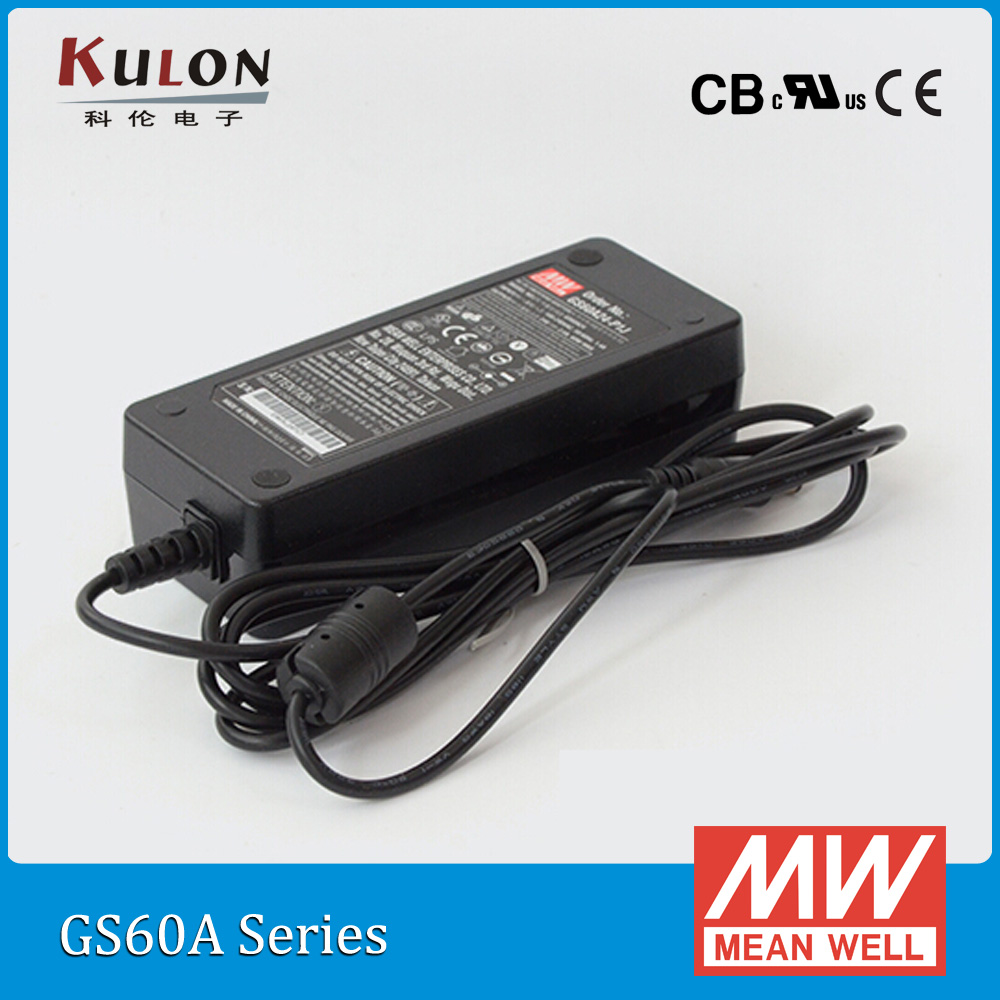 Original Mean Well GS60A12-P1J 60W 12V 5A AC/DC high reliablity Level V Meanwell Industrial Adaptor advantages mean well gsm18b12 p1j 12v 1 5a meanwell gsm18b 12v 18w ac dc high reliability medical adaptor