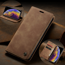 Case Me For iPhone X XR XS Max 8 7 6 Plus 5 Retro Luxury Matte Leather + Soft TPU Magnetic Flip Wallet Slot Stand Cover
