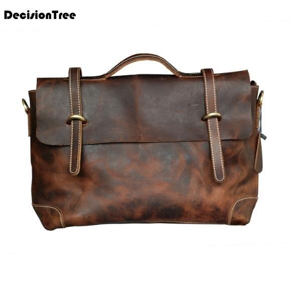 Genuine Leather Men Crossbody Briefcase Bags Top Selling Cowhide Casual Shoulder Messenger Men Bags Leather Laptoop Bags LFB51