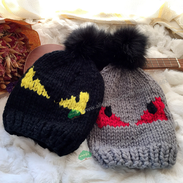 new autumn winter little devil eyes beanie pom pom Rabbit fur ball Halloween brand demon eyes female wool knitting cap hat the new children s cubs hat qiu dong with cartoon animals knitting wool cap and pile