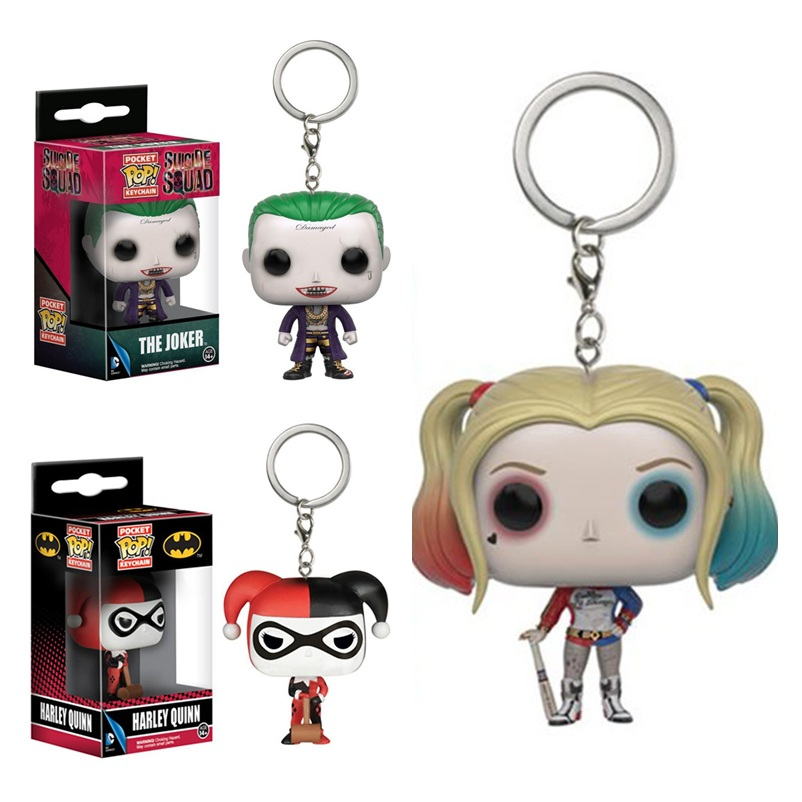 DC Comics Suicide Squad Harley Quinn The Joker Pocket Pop Keychain Accessories Mini Figures Model Toy Gifts Collection