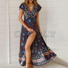 Bohemia Summer Women Dresses Sexy Floral Print Beach Long Maxi Dress Fashion Plus Size Split Casual Ladies