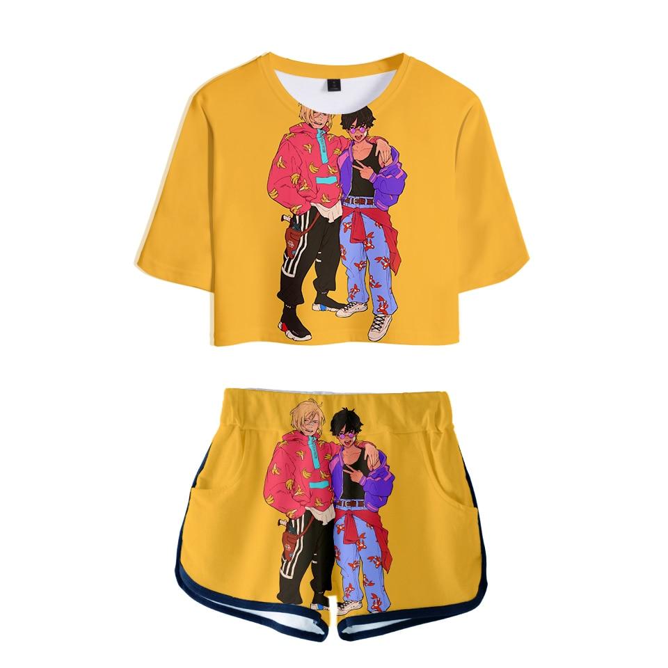 NEW 3D BANANA FISH Fashion Sexy Two Piece Sets Soft T-shirt And Elastic Shorts Kpop Fashion Sexy Style Fashion